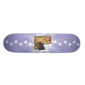 Cartoon-Yorkshire-Terrier (langes Haar mit Bogen) Personalisierte Skatedecks