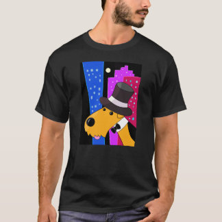 Cartoonairedale-Terrier im T - Shirt der