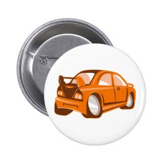 Cartoonart-Sportauto abgeschieden Runder Button 5,1 Cm