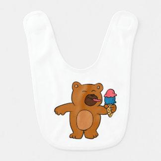 Cartoonbär isst Eiscreme Babylätzchen