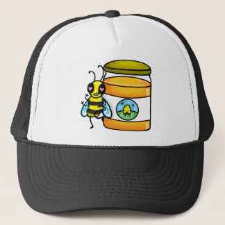 Cartoonbiene, die auf Honigglas sich lehnt Truckerkappe