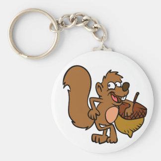 Cartooneichhörnchen mit Nuss Schlüsselanhänger