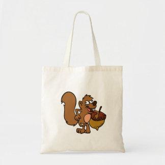 Cartooneichhörnchen mit Nuss Tragetasche