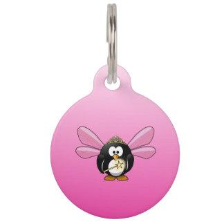 Cartoonfeenhafter Penguin-Rosa-Hintergrund Haustiermarke