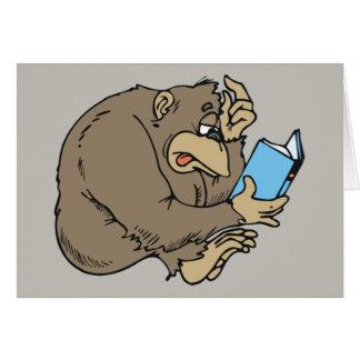 Cartoongorilla-Lesebuch Grußkarte