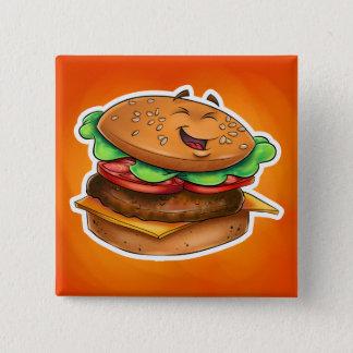 Cartoonhamburger Quadrat-Knopf Quadratischer Button 5,1 Cm