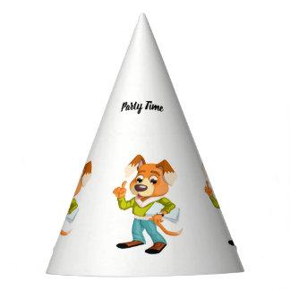 Cartoonhundestudent, der zur Schule #2 fertig wird Partyhütchen