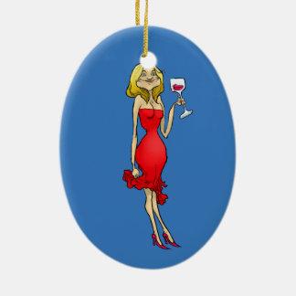 Cartoonillustration einer Frau in einem roten Keramik Ornament