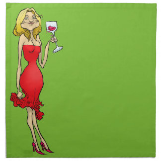 Cartoonillustration einer Frau in einem roten Serviette