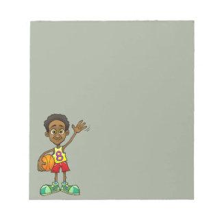 Cartoonillustration eines Jungen, der einen Ball Notizblock
