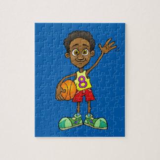 Cartoonillustration eines Jungen, der einen Ball Puzzle