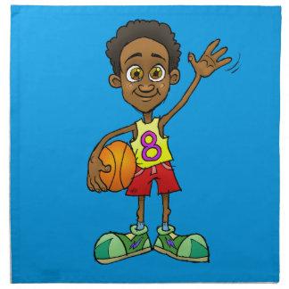 Cartoonillustration eines Jungen, der einen Ball Serviette