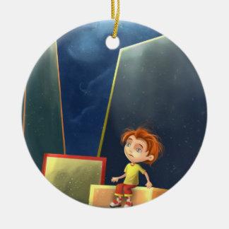 Cartoonjungen-Traum Verzierung Rundes Keramik Ornament