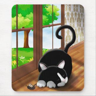 CartoonKitty mit Spielzeugmaus Mousepad