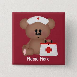 Cartoonkrankenschwester addieren Namensknopf Quadratischer Button 5,1 Cm