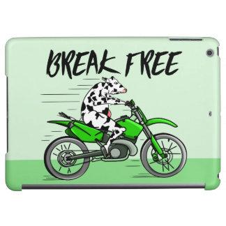 Cartoonkuh, die ein Motorrad reitet