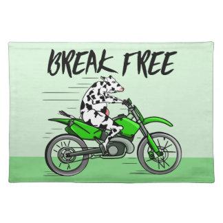 Cartoonkuh, die ein Motorrad reitet Tischset