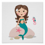 Cartoonmeerjungfrau mit Starfish- und Seepferdplak