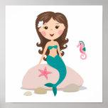 Cartoonmeerjungfrau mit Starfish- und Seepferdplak Poster