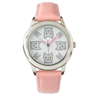 CartoonPlayful graue Kitty-Katzen-Uhr Armbanduhr