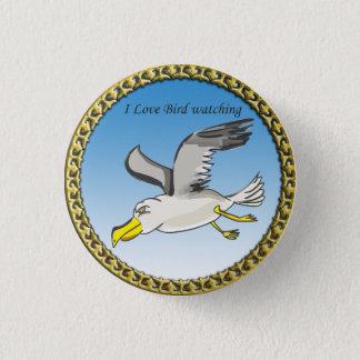 Cartoonseemöwefliegen obenliegend mit einem runder button 2,5 cm