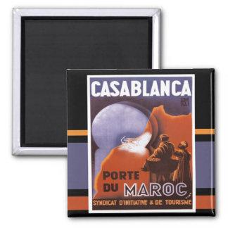 Casablanca-Tourismus-Vintager Magnet Quadratischer Magnet