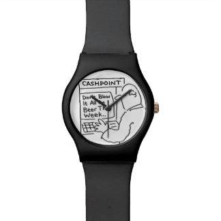 """Cashpoint Cartoon. """"Brennen Sie ihn allen nicht Armbanduhr"""