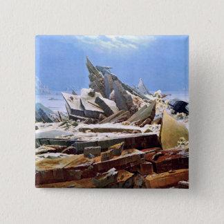 CASPAR DAVID FRIEDRICH - das Meer von Eis 1824 Quadratischer Button 5,1 Cm