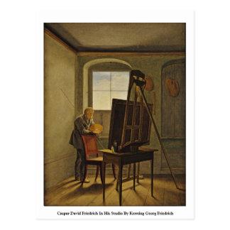 Caspar David Friedrich in seinem Studio Postkarte
