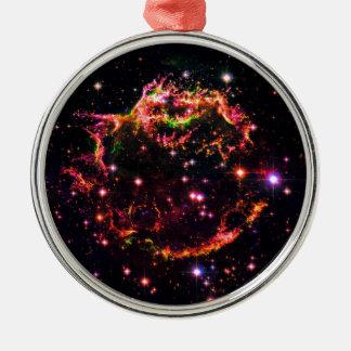 Cassiopeia ein Nebelfleck-Supernova-Rest-Raum-Foto Silbernes Ornament