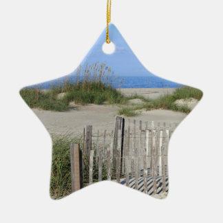 Caswell Strand, NC-Land und Meerblick Keramik Ornament
