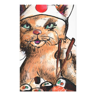 cat eating Sushi Briefpapier