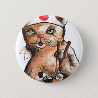 cat eating Sushi Runder Button 5,7 Cm