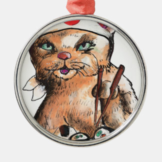 cat eating Sushi Silbernes Ornament