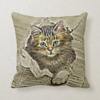CAT im MEWSPAPER, Vintage Katzen-Collage Kissen