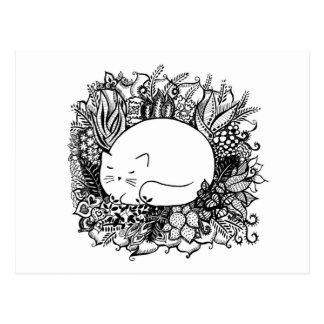 Cat in Flowers Postkarte