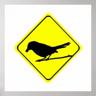 Catbird-Warnzeichen-Liebe-Vogel-Aufpassen Poster