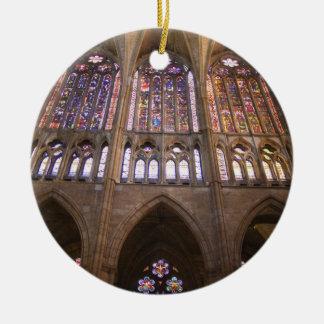 Catedral De Leon, InnenBuntglasfenster 2 Keramik Ornament