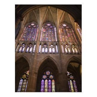 Catedral De Leon, InnenBuntglasfenster 2 Postkarte