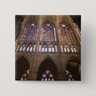 Catedral De Leon, InnenBuntglasfenster 2 Quadratischer Button 5,1 Cm