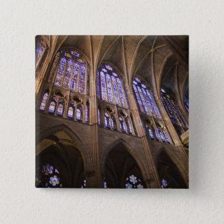 Catedral De Leon, InnenBuntglasfenster Quadratischer Button 5,1 Cm
