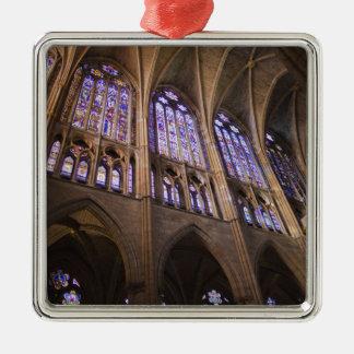Catedral De Leon, InnenBuntglasfenster Quadratisches Silberfarbenes Ornament