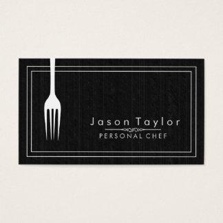 Catering-Retro schwarze hölzerne Kochs-Weiß-Gabel Visitenkarte