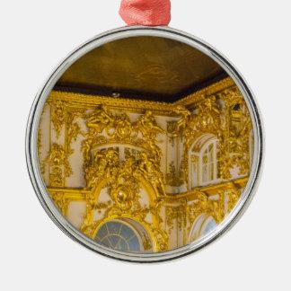Catherine großer Palast Tsarskoye Selo Ball-Raum Rundes Silberfarbenes Ornament