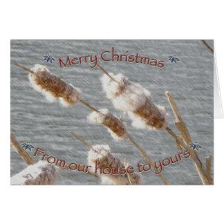 Cattails-frohe Weihnacht-Karte Karte