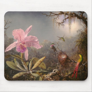 Cattleya Orchidee und drei Kolibris Mousepad