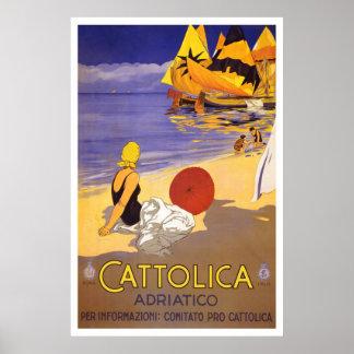 """Cattolica"" Vintages italienisches Reise-Plakat Poster"