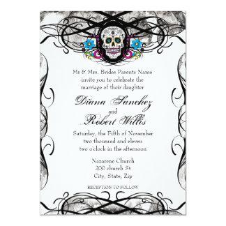 Cavaleras Muerte Schädel und Schnörkel lädt ein 12,7 X 17,8 Cm Einladungskarte