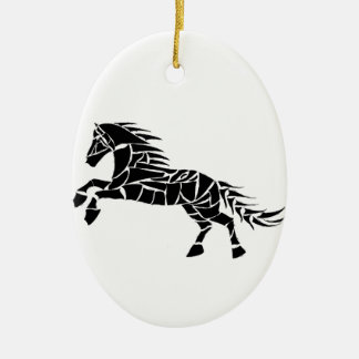 Cavallerone - schwarzes Pferd Keramik Ornament
