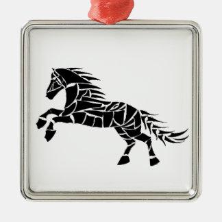 Cavallerone - schwarzes Pferd Silbernes Ornament